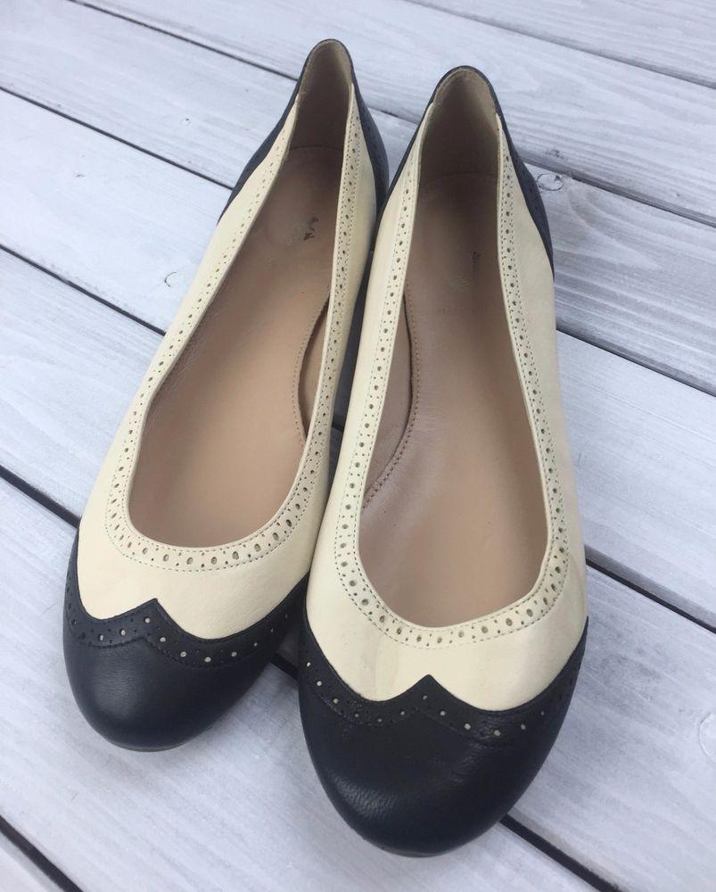 J Crew Ballet Flats Wingtip Black Ivory Italian Leather Size 10 Italy Vintage #JCrew #BalletFlats