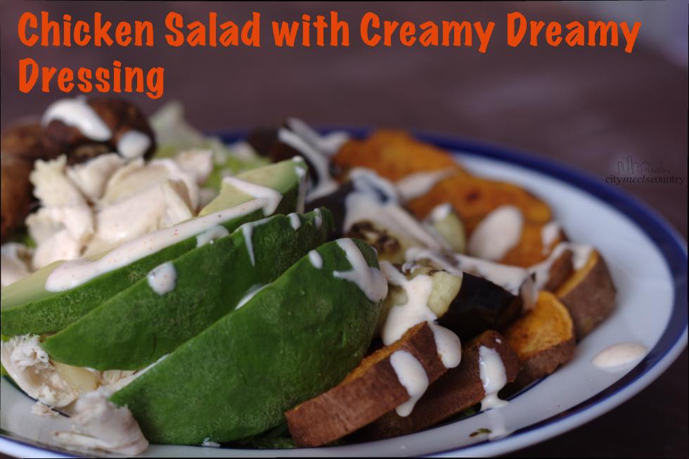 "Chicken Salad with a healthy gluten free ""creamy"" dressing"