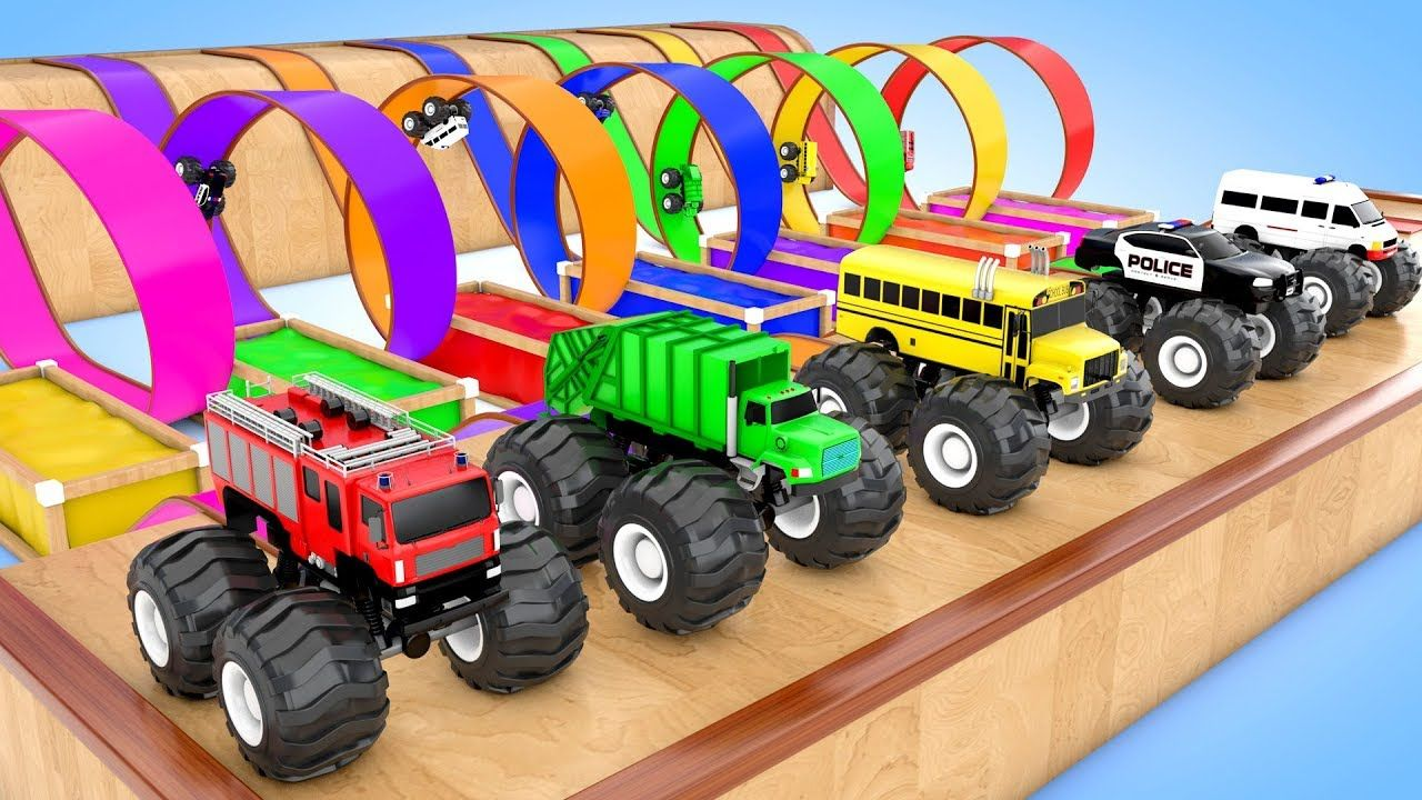 Colors for children to learn with monster streetvehicles hot wheels