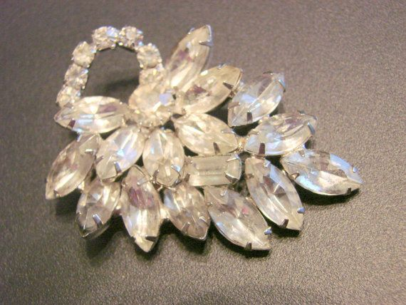 40s50s Rhinestone Floral Brooch Wedding Bridal by joysshop on Etsy, $18.95