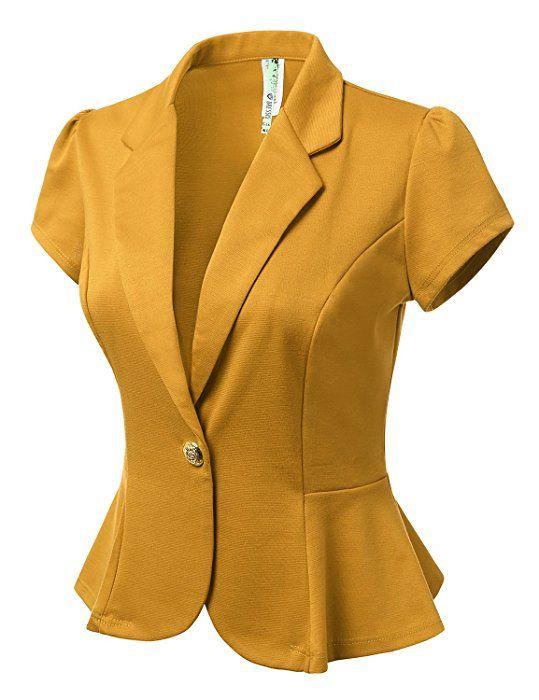 DRESSIS Womens Petal Short Sleeve Slim Fit Blazer Jacket w  Single Button  at Amazon Women s Clothing store  bbeb67315245