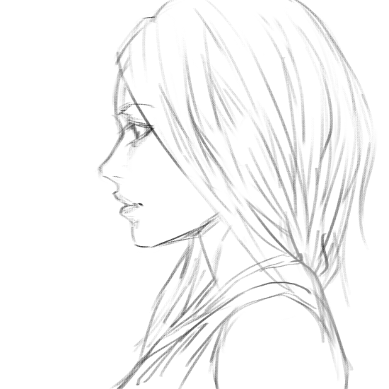Girl side view sketch