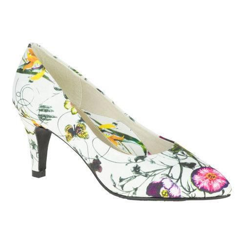 Women's Soft Style Raylene Pump White Spring Grosgrain by Soft Style