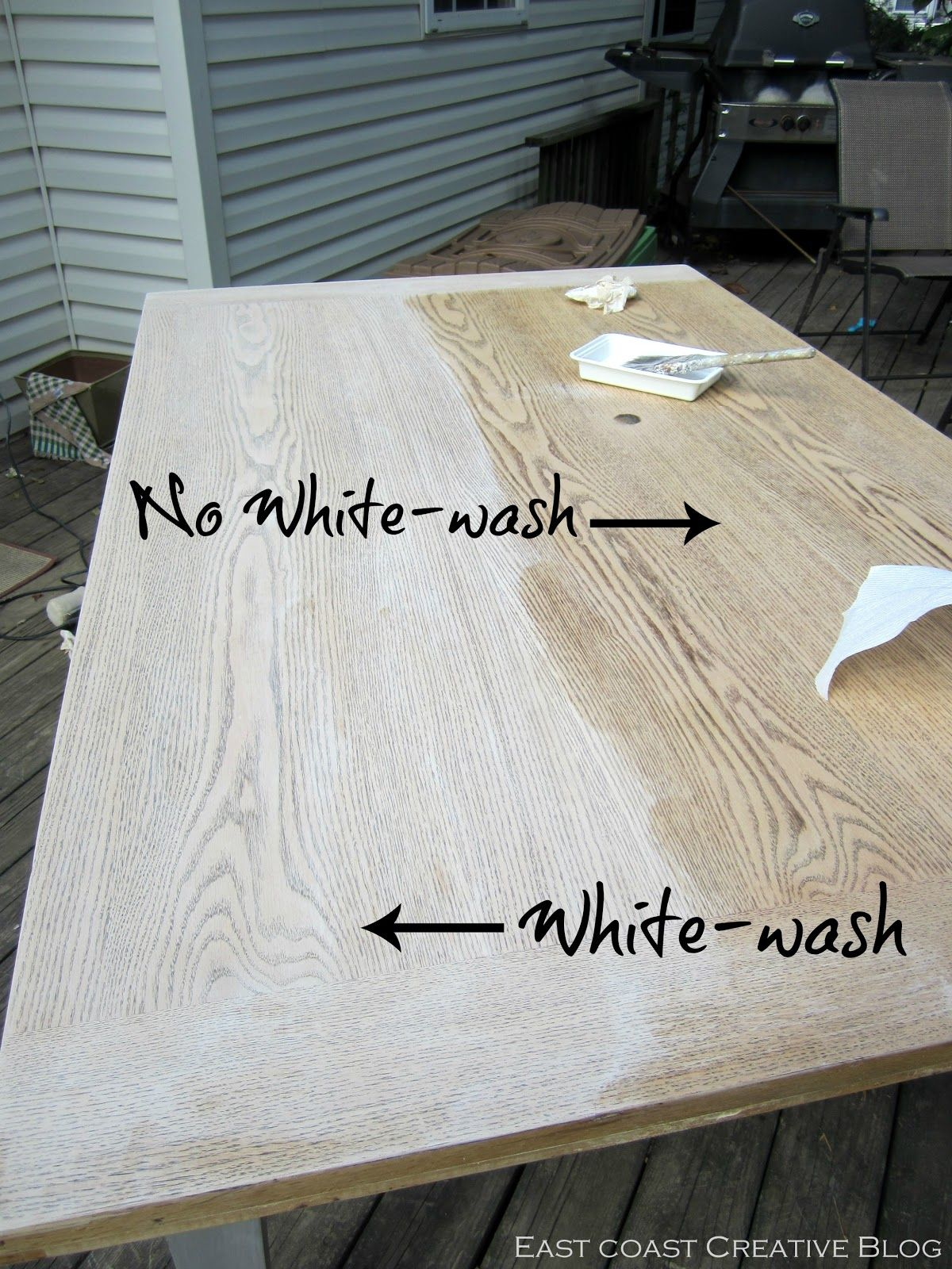 East Coast Creative: Refinished Dining Room Table {Furniture Makeover} White  Washed Furniture,