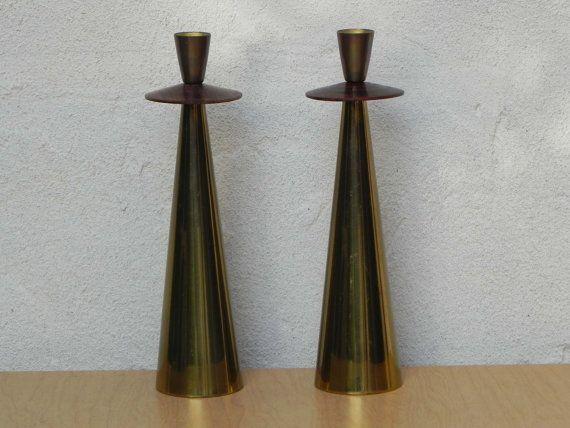 Moderne Kerzenständer groß paar italienische moderne messing rosewood ilikemikes