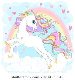 White Unicorn with rainbow hair vector illustration for children design. Cute fantasy animal. Isolated