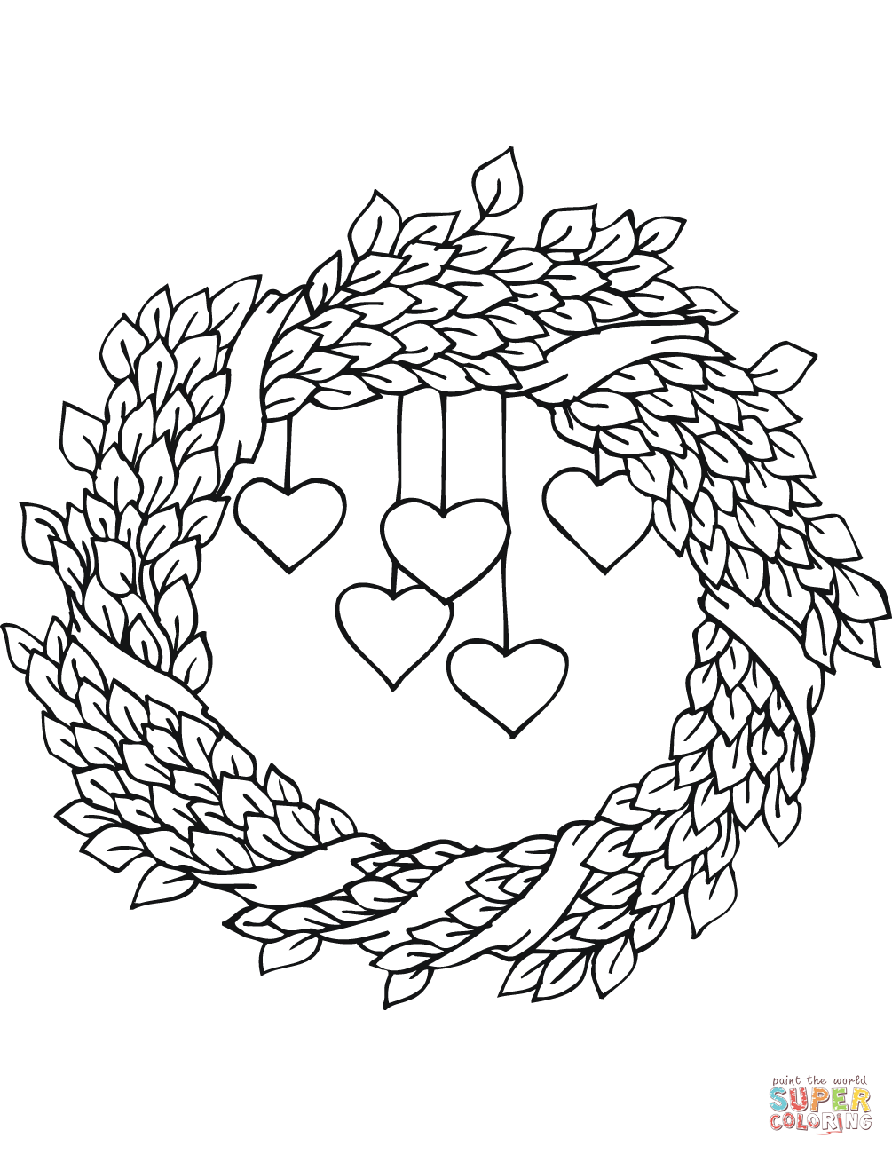 St. Valentine\'s Day Wreath coloring page from St. Valentine\'s Day ...