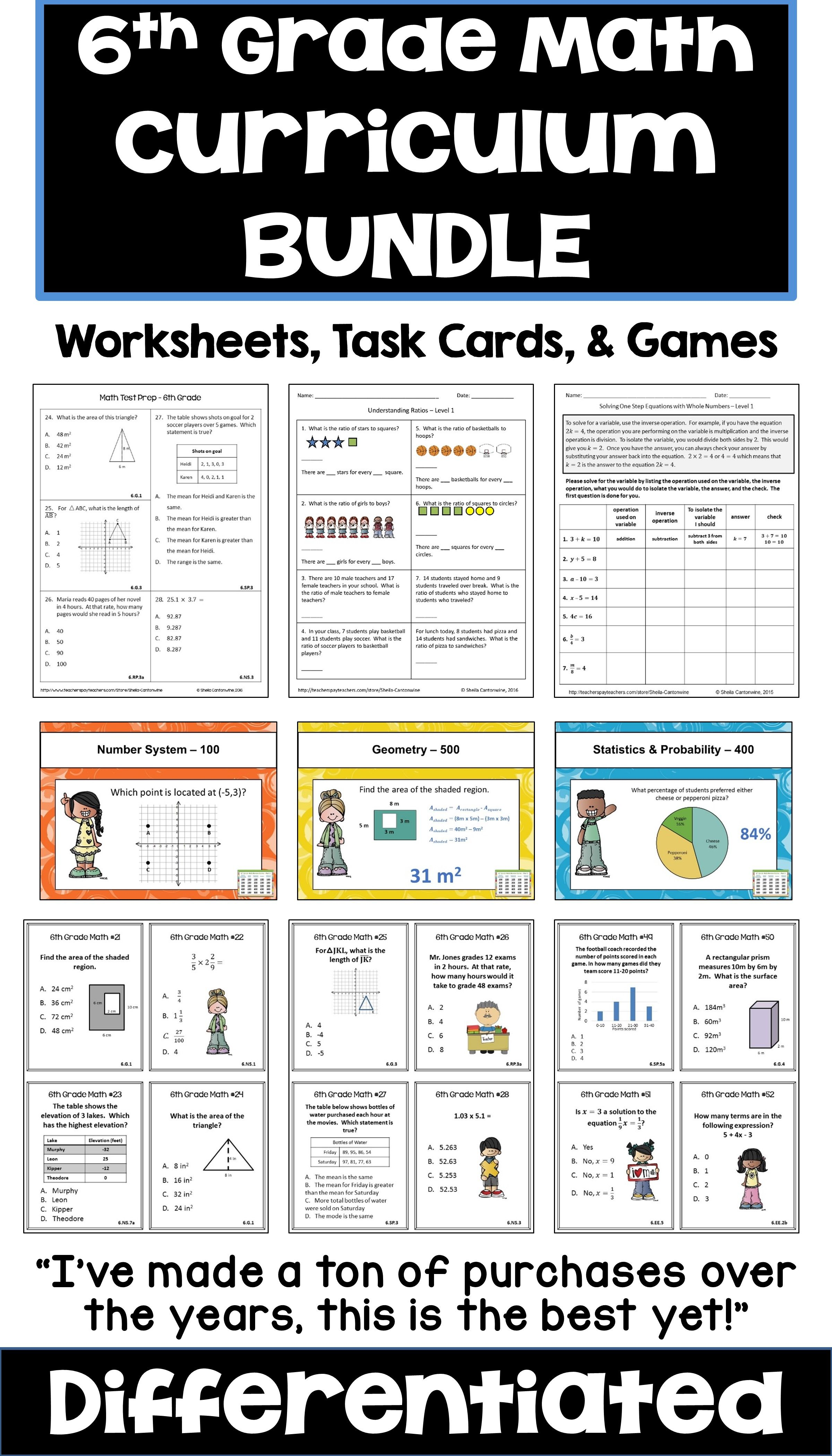 This 6th grade math bundle features common core standards with lots of  worksheets [ 4200 x 2400 Pixel ]
