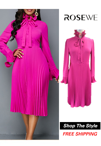 Tie Neck Rose Red Long Sleeve Pleated Dress. New sign-ups get 5% 8013336635ac