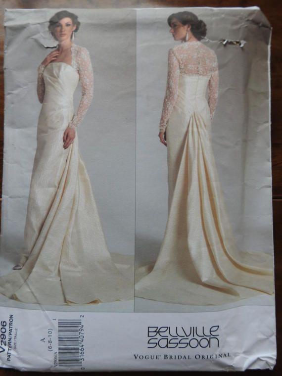 Vogue V2906 Women\'s Elegant Bellville Sassoon Wedding Gown Sewing ...