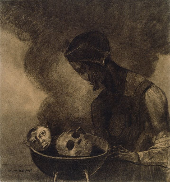 Odilon Redon - Cauldron of the Sorceress, 1879, Various charcoals...   The Art Institute of Chicago