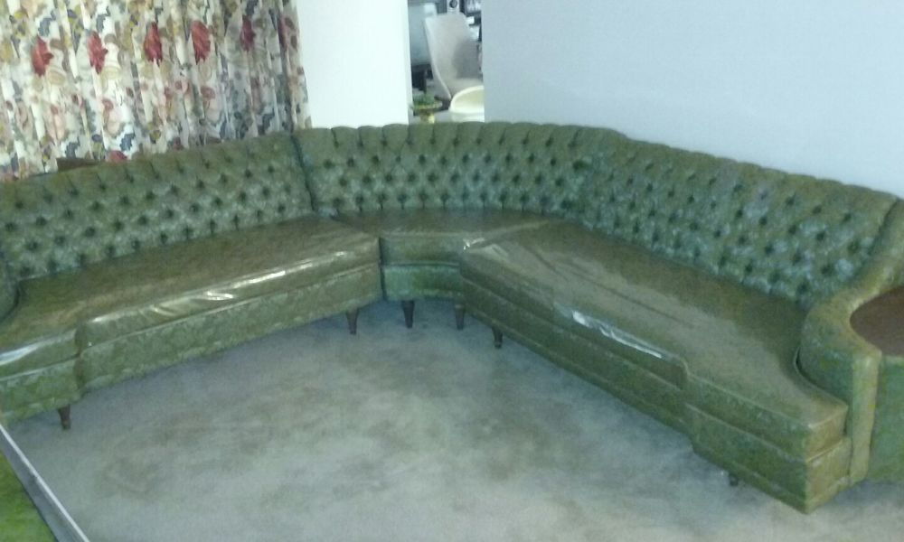 Vintage 1950 S Green Sectional Couch Antique Sofa Chaise Sofa