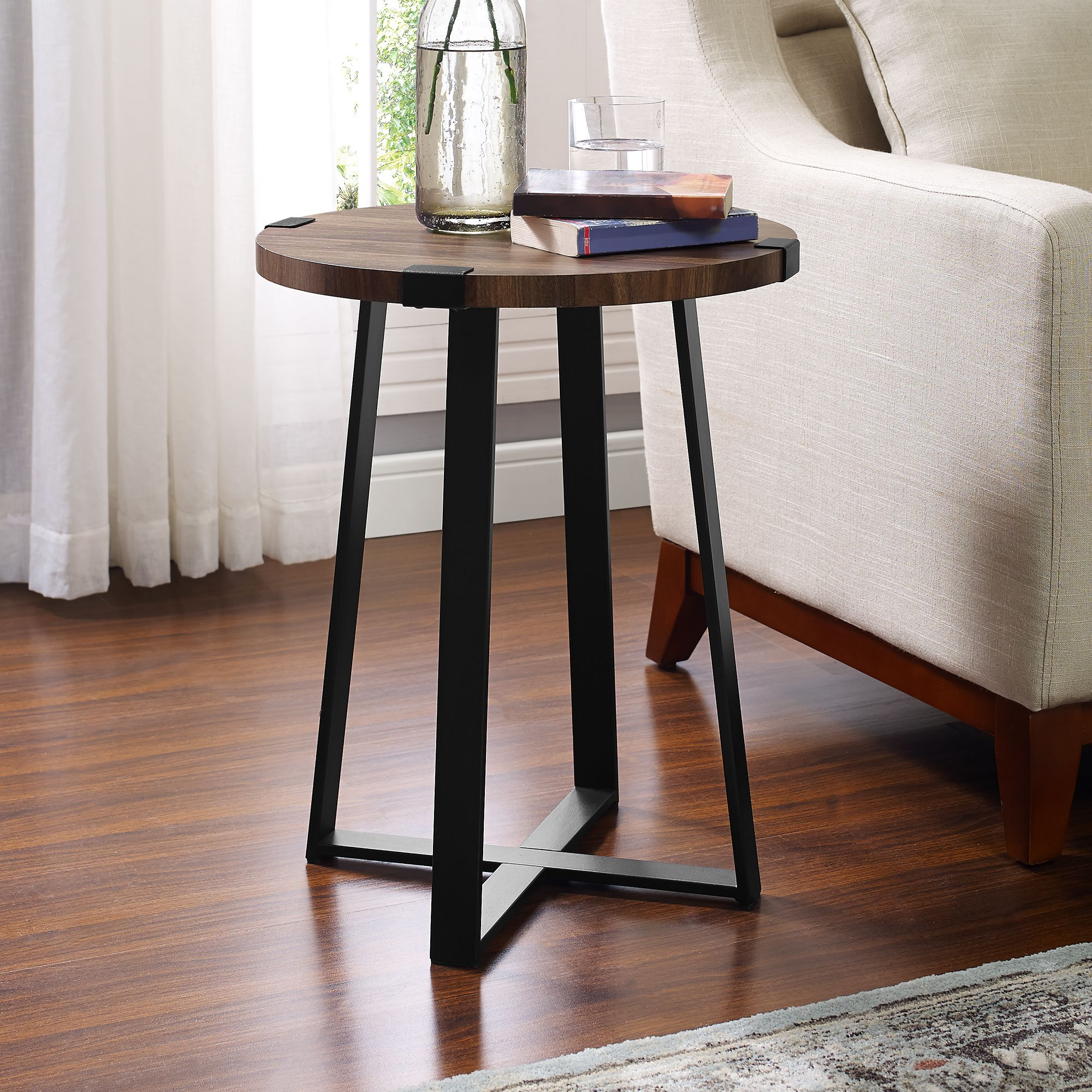 Home In 2020 End Tables Wood Metal Round Metal Side Table