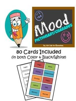 The Special Education Charade >> Mood Emotion Pictionary Or Charades Set With 80 Different Cards