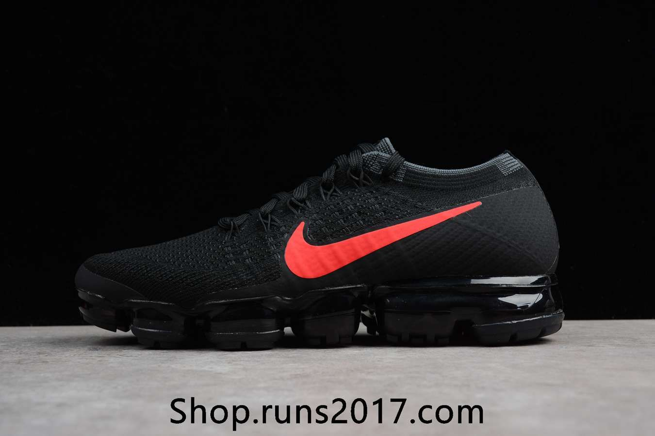 New Nike Air VaporMax 2018 Flyknit Black Red Tick Women Men