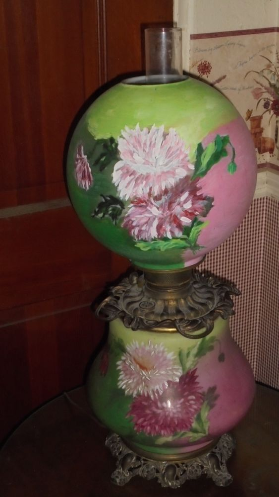 Antique Ball Shade Gone With The Wind Lamp Oil Electirc Conversion