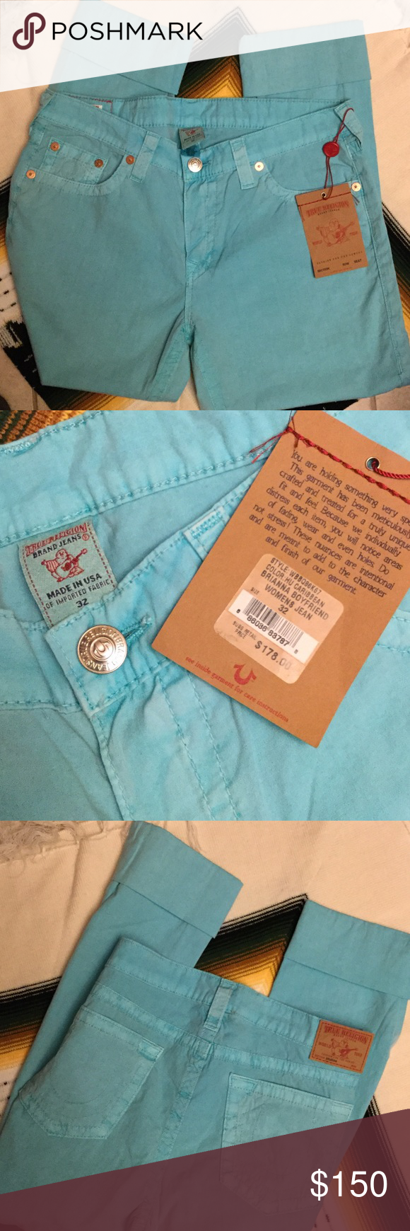 True Religion Boyfriend Jean (Brianna) Original tag attached, with price of $179. Color is Caribbean, model name is Brianna. 98% cotton, 2% spandex. These are jeans but the fabric is lighter and way more comfortable than traditionally denim. Glorious fit and feel.😍 Jeans Boyfriend