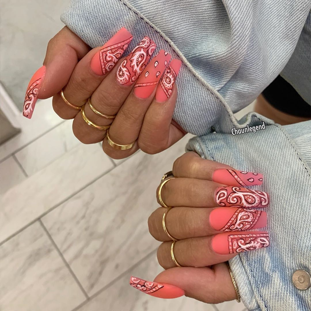 """Chaun P. 🇰🇭 on Instagram: """"Pretty Girl Gang- My two faves! @heathersanders_ and @lala #bandananails #handpainted Jelly pink """"miss candied"""" and matte from…"""""""