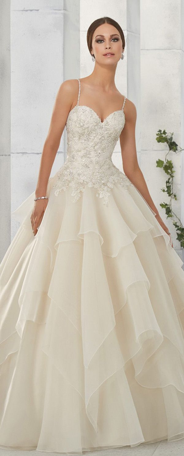 Marvelous Tulle & Organza Spaghetti Straps Neckline A-Line Wedding Dresses With Lace Appliques