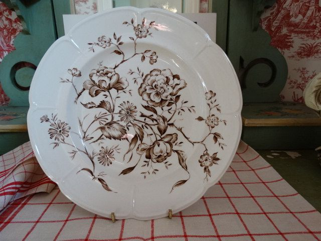 Windsor Ware Brown Floral Transferware  Dinner Plate by Johnson Brothers. Made in England. by HomecomingDiningRoom on Etsy