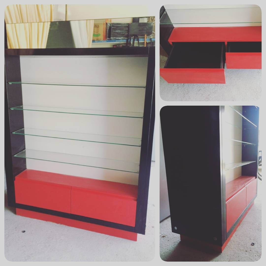 For Sale Cabinet Display Glass Shelves Top Mirror 2 Drawer Size 127x170x45 Black Red Color Good Condation Price 55 Bd Home Decor Furniture Decor