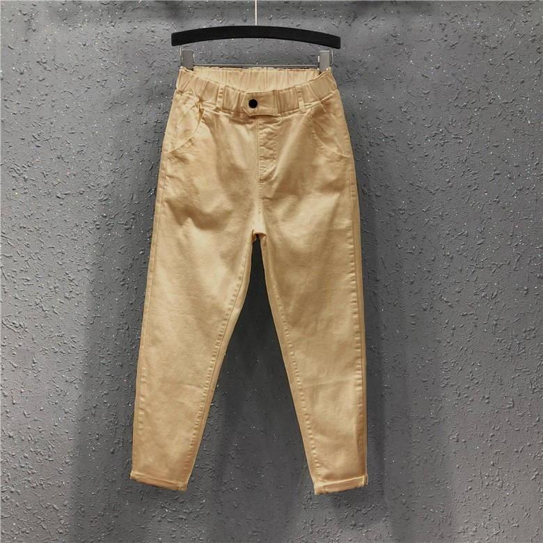 Women Autumn Cotton Denim Harem Pants Elastic Waist White Black Plus Size Jeans Casual Ankle Length Loose Trousers Ankle Length Pants Loose Trousers Pants