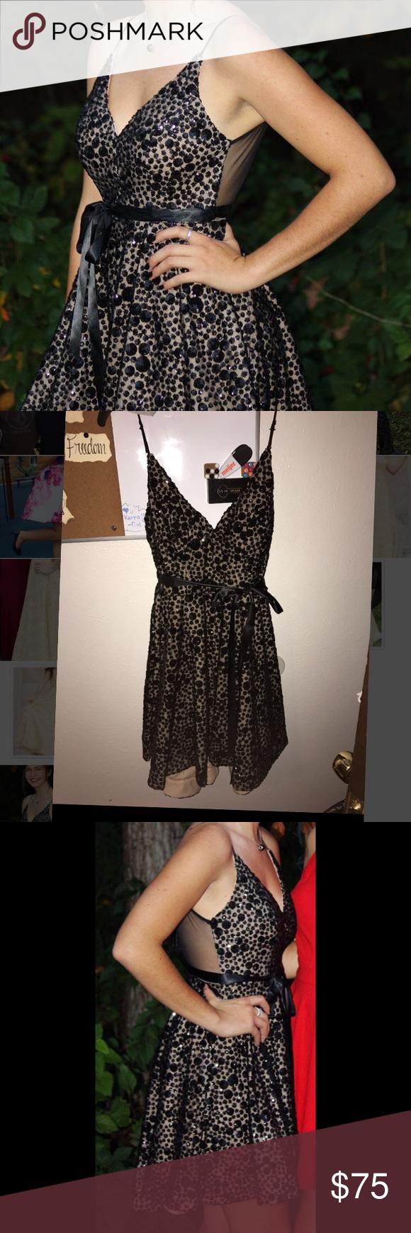 Spaghetti strap black and tan homecoming dress my posh closet