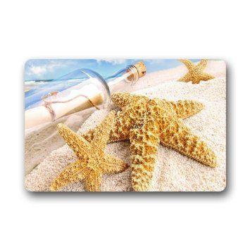 Design Fashions Unique Comfortable Style Door mat. Decor Gorgeous Ultra-clear Starfish Bottle Sea Shell Sand Sea Doormat 15.7-Inch by 23.6-Inch Doormat Floor Mat Bath mat Indoor/Outdoor Mat