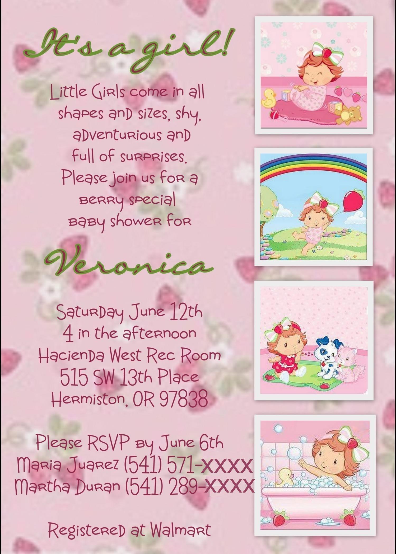 Strawberry Shortcake Baby Shower Invite I Like The Wording Not