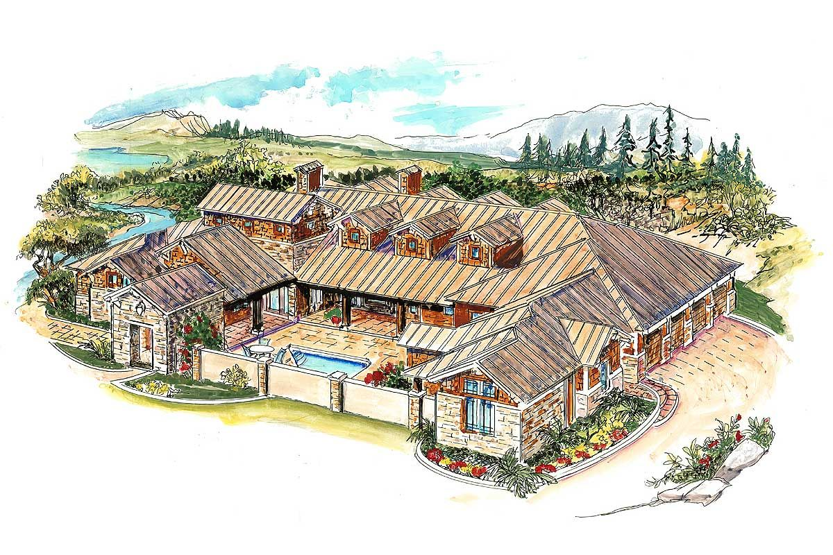 A Standing Seam Metal Roof And Stone Accents Make This Hill Country Home Plan A True Stand Out The Hu Courtyard House Hill Country Homes Courtyard House Plans