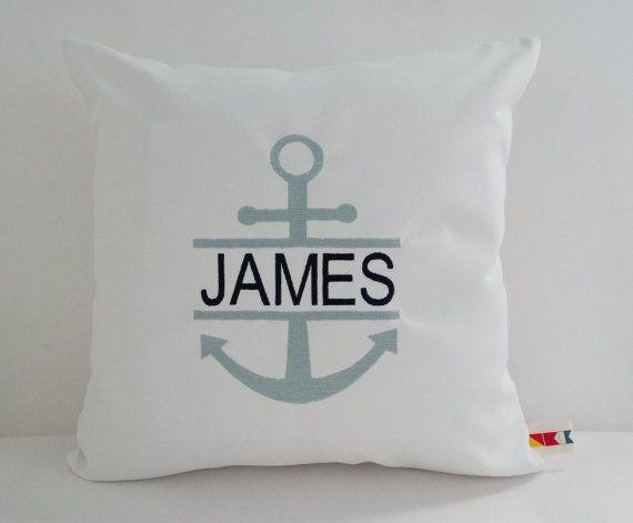 Anchor Monogrammed Pillow Name Pillow Nautical Pillow Etsy Custom Pillow Covers Sunbrella Pillows Nautical Pillows