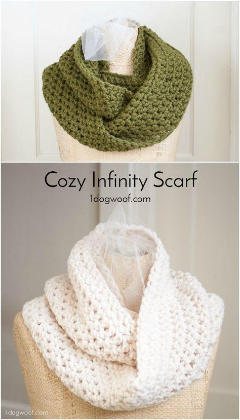 Cozy Infinity Scarf | Häkelideen, Stricken häkeln und Stricken