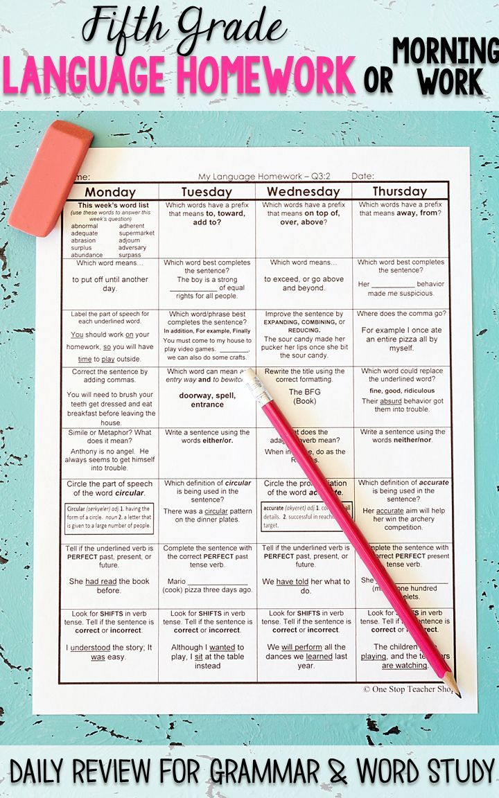 Fifth Grade Language Homework Entire Year Editable Fifth Grade Word Work Stations Word Study