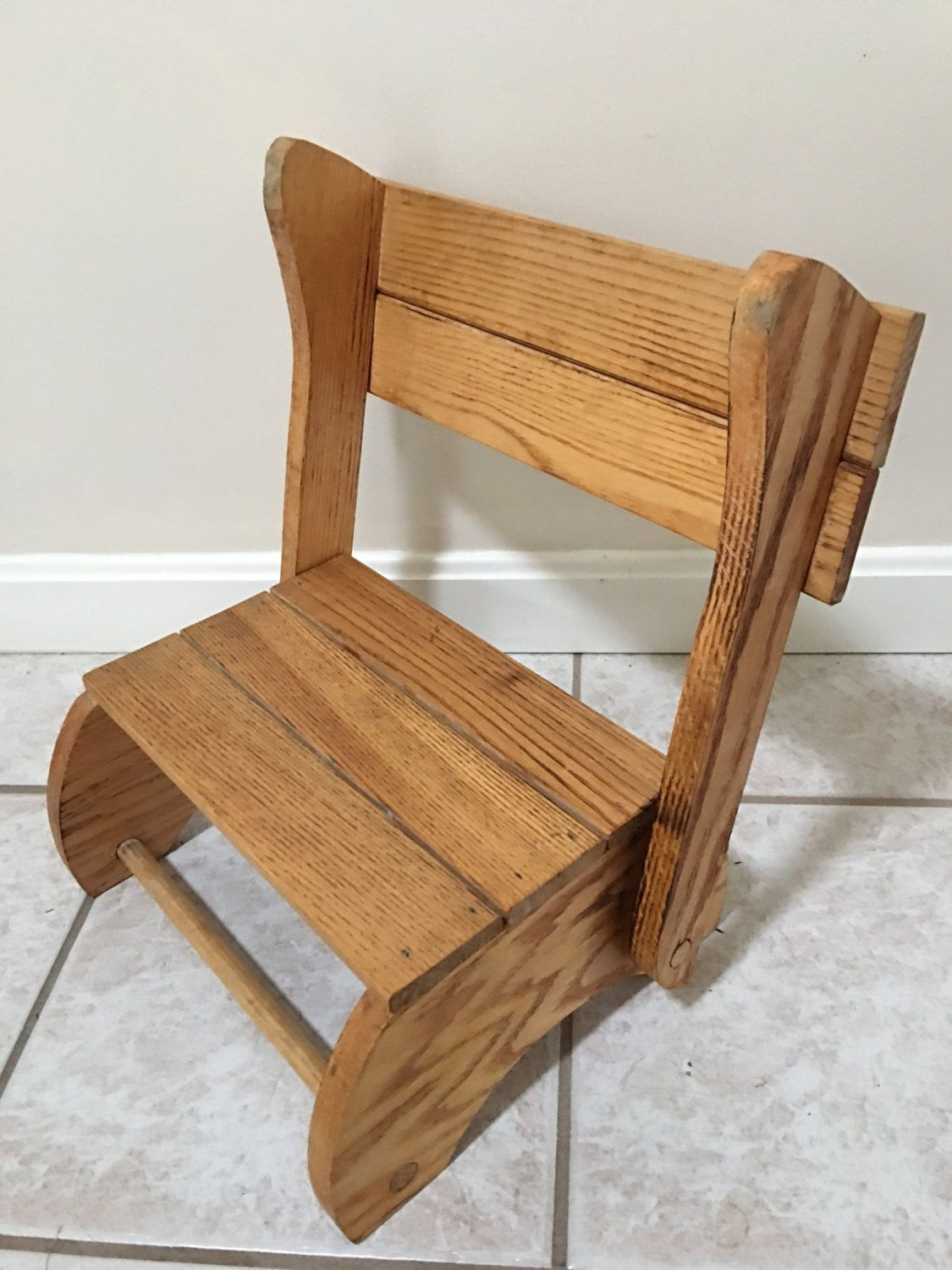Vintage Wood Childu0027s Step Stool   Portable, Convertible, Folding Chair  Bench By Littlejoesattic On