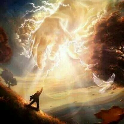 Hand Of Our Lord Jesus Christ Reaching Down From Heaven To Bring