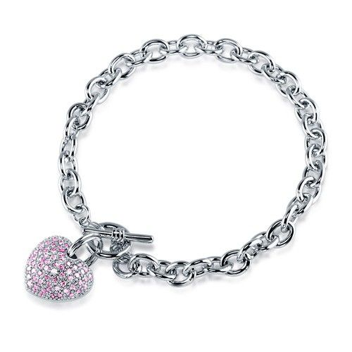 Pink CZ Silvertone Puffed Heart Charm Toggle Bracelet 8.5 inch
