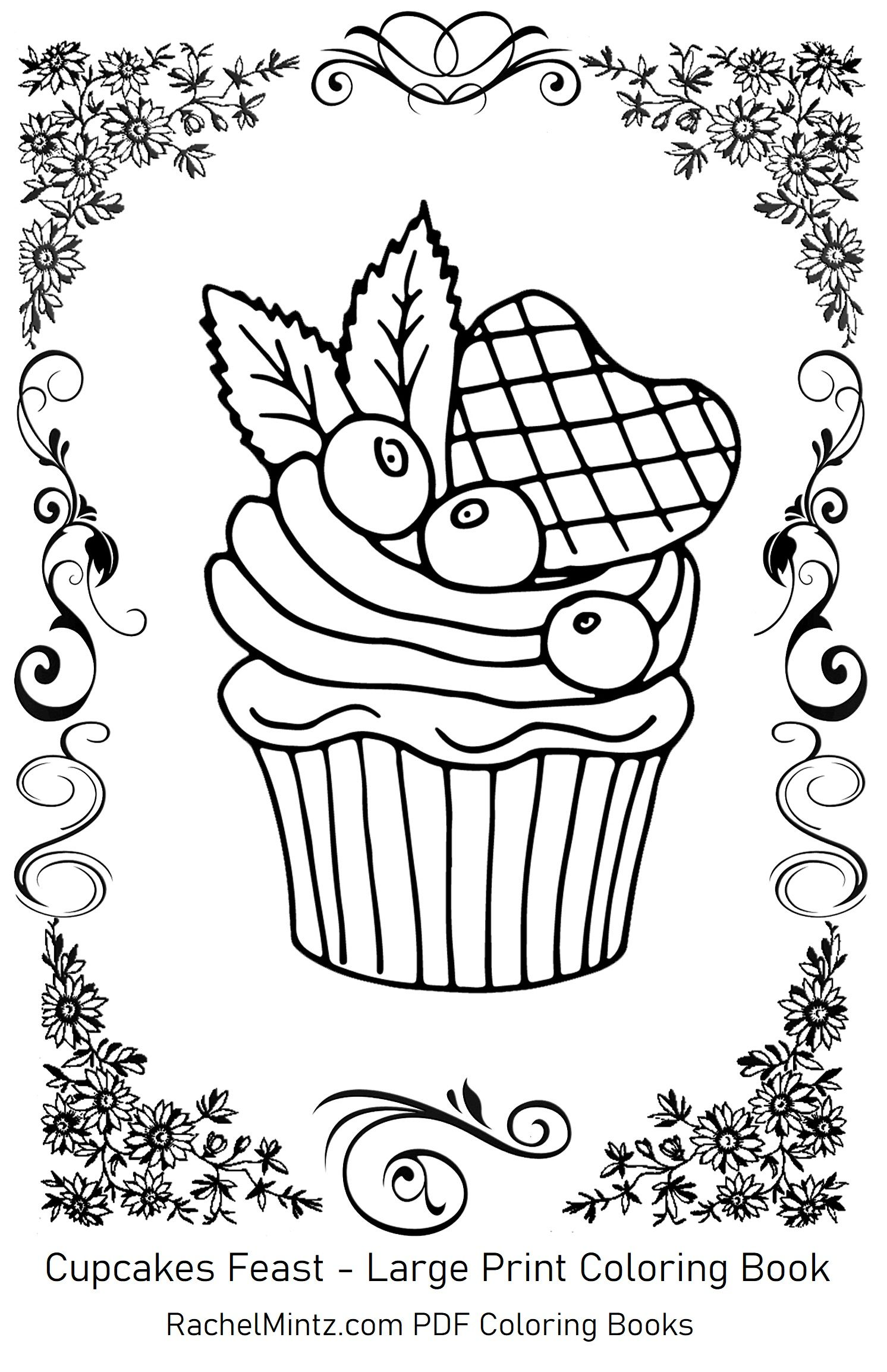 Large Print Cupcakes Coloring Pages In 2020 Coloring Books Cupcake Coloring Pages Large Prints