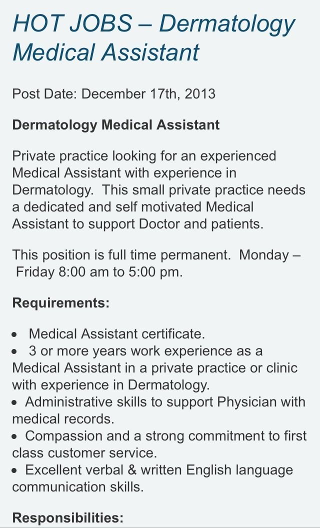 Hiring #MedicalAssistant Interested in a new job for the New Year - medical assistant dermatology resume