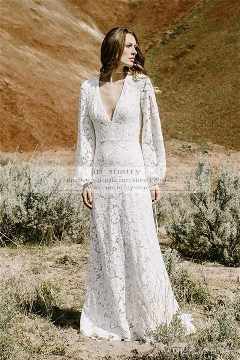 Cheap 2016 Full Lace Bohemian Wedding Dresses Long Sleeves Keyhole