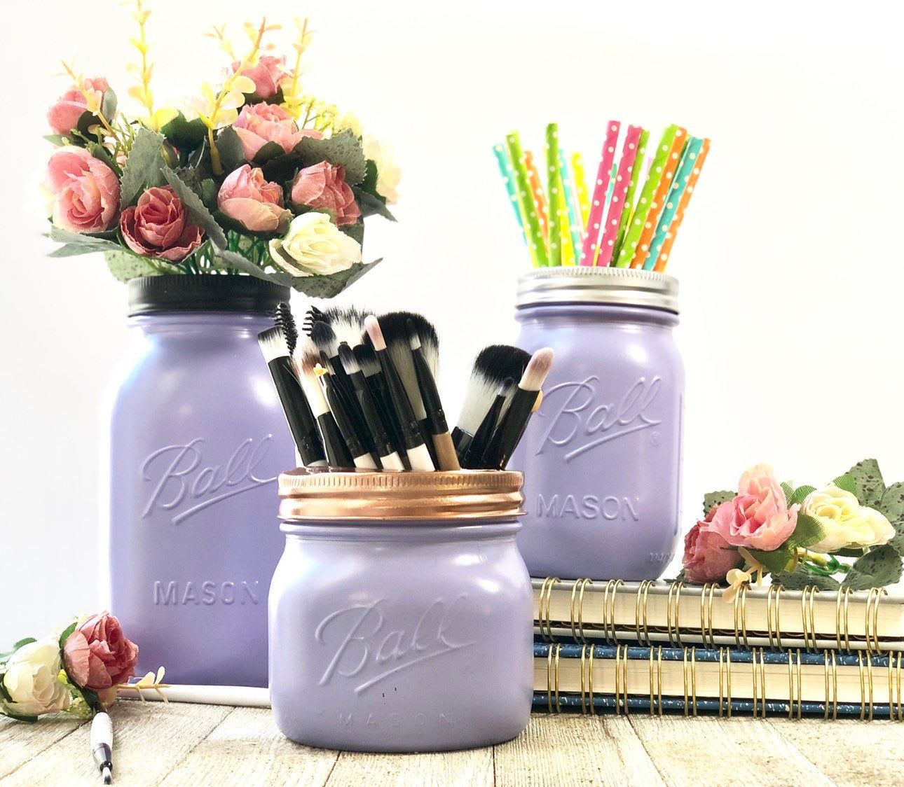 Purple Mason Jars Makeup Brush Holder Purple Mason