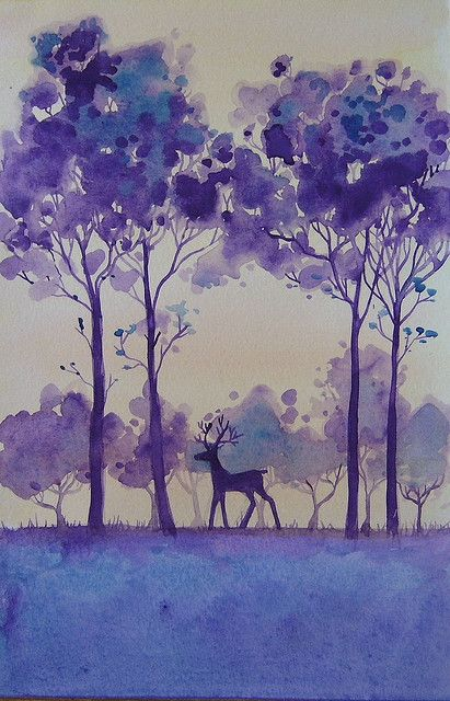 Stag Art Tree Art Watercolor Art
