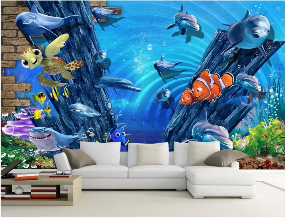 Barato 3d quarto papel de parede mural da foto da paisagem for Papel de pared barato