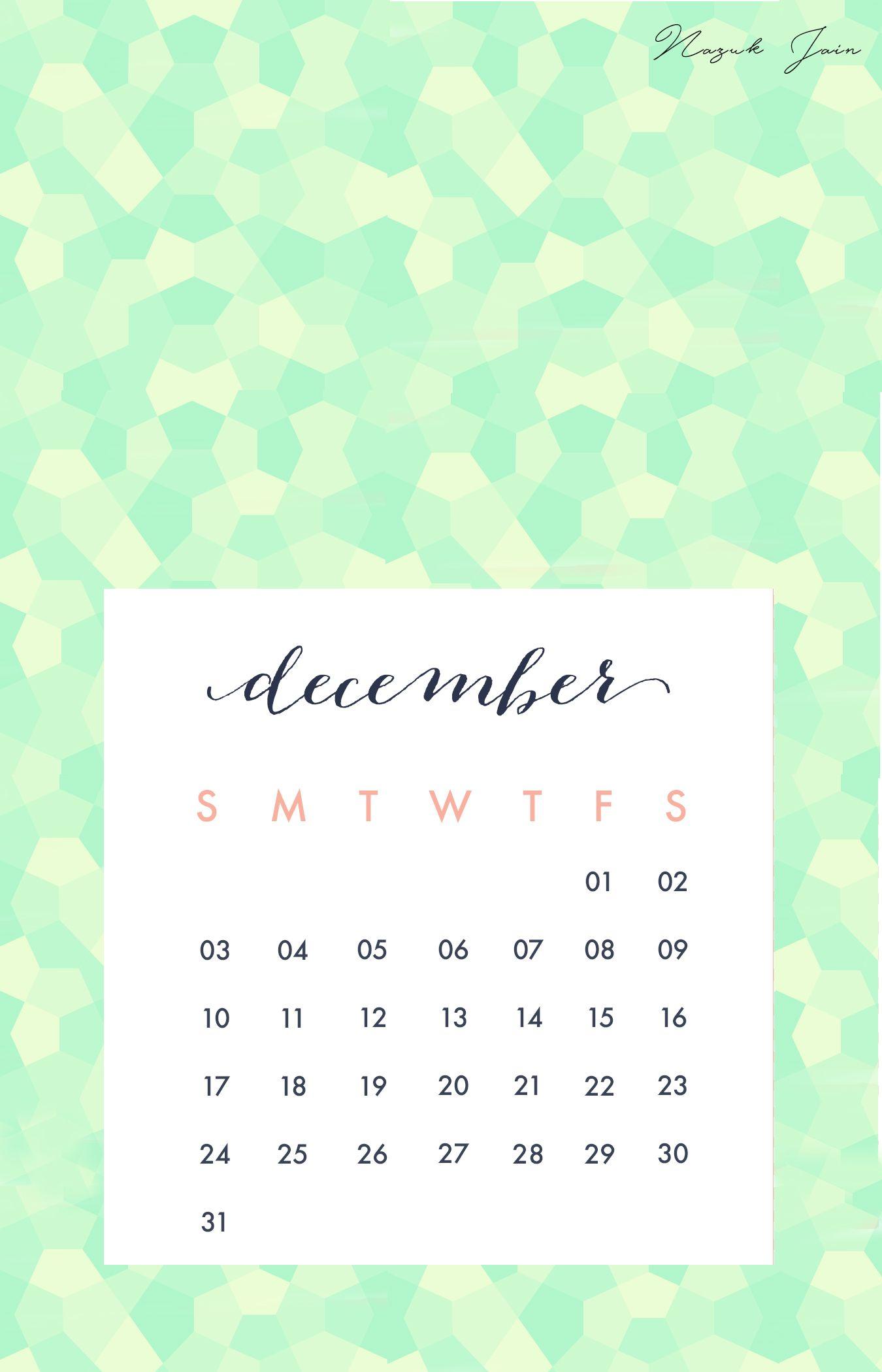 December  Free Calendar Printables  By Nazuk Jain  Calendar