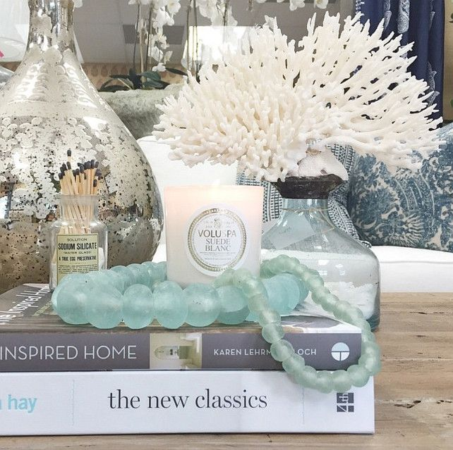 coastal coffee table decor how to decorate coffee table with coastal motiff coastaldecor - How To Decorate A Coffee Table
