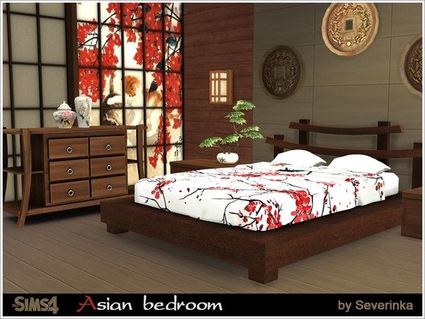 The Sims Resource Asian Bedroom By Severinka Sims 4 Downloads Asian Bedroom Decor Asian Bedroom Japanese Style Bedroom