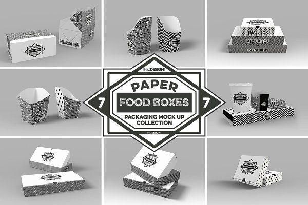 Download Vol 7 Food Box Packaging Mockups By Incdesign On Creativemarket Kemasan Makanan