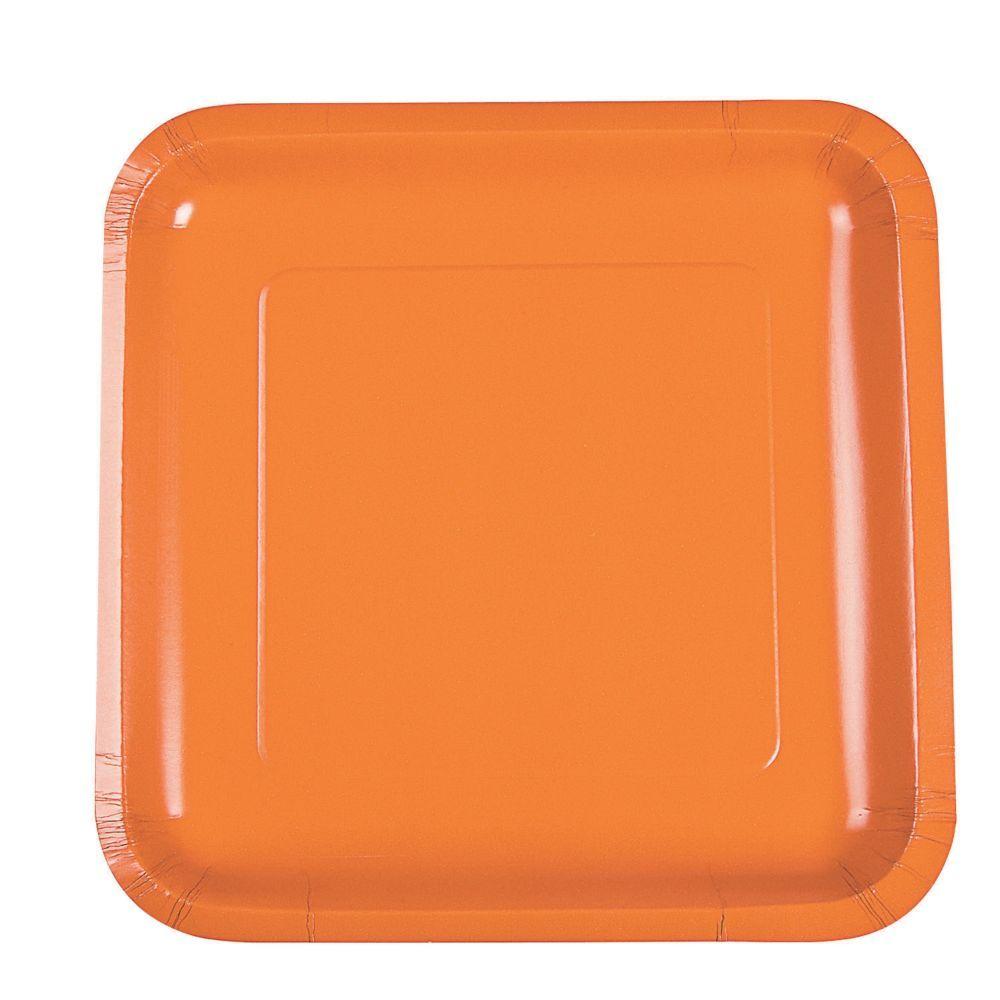 Pumpkin Spice Orange Square Dinner Paper Plates   Products