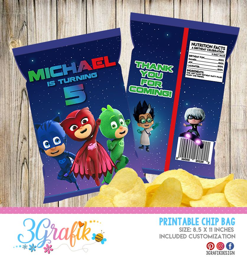Miraculous ladybug chip bags in 2020 chip bags pj mask