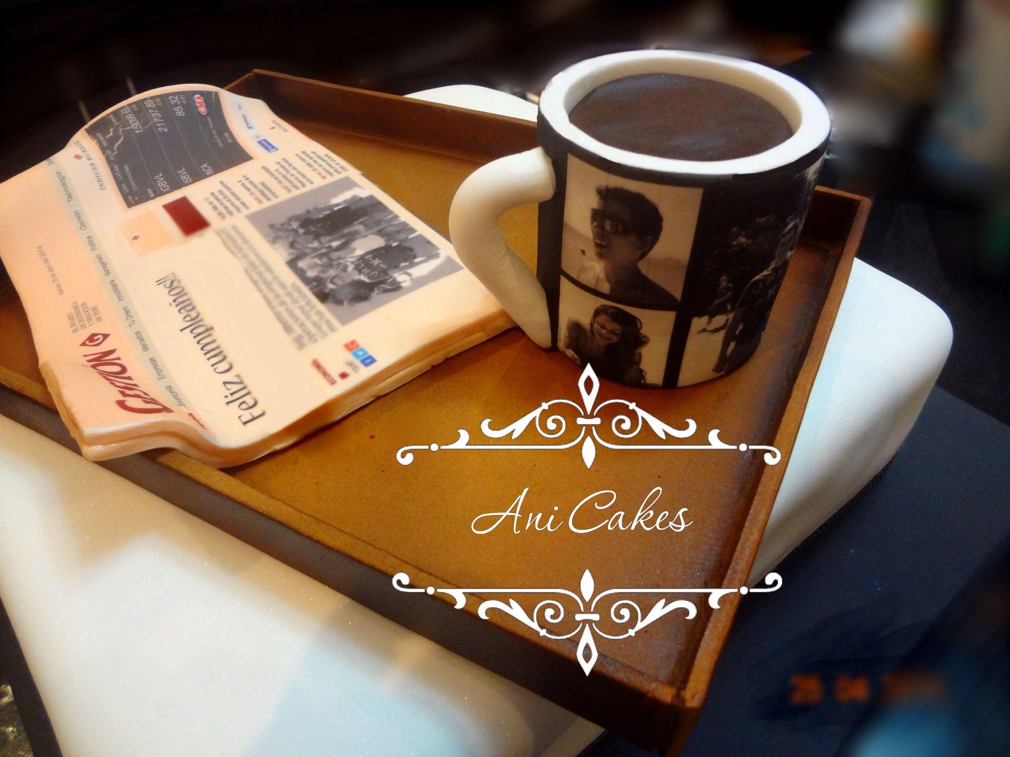 Torta de caballero. Mesa de desayuno trabajado en pastillaje. Coffee Table Cake.