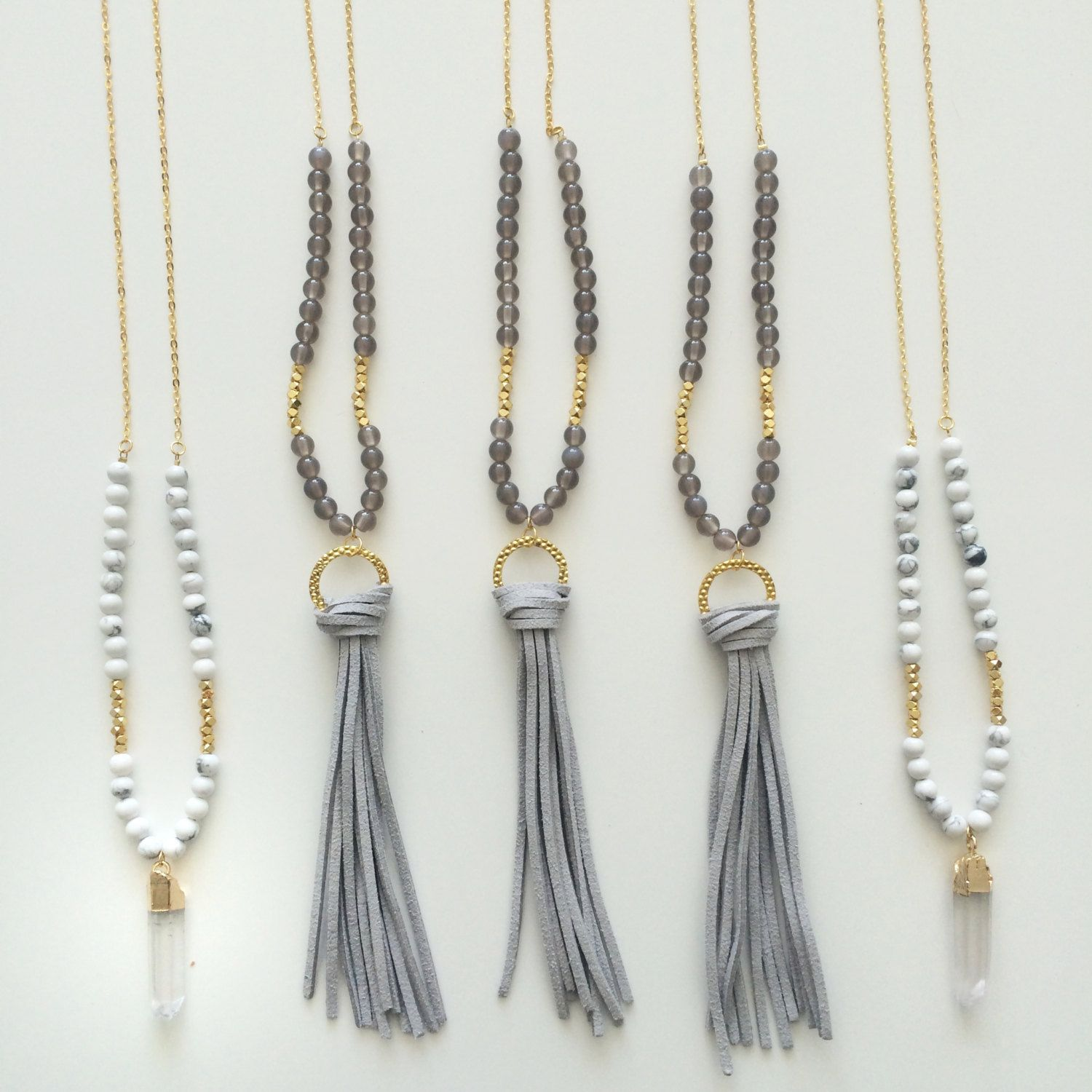 leather tassel necklace - beaded long necklace - druzy necklace